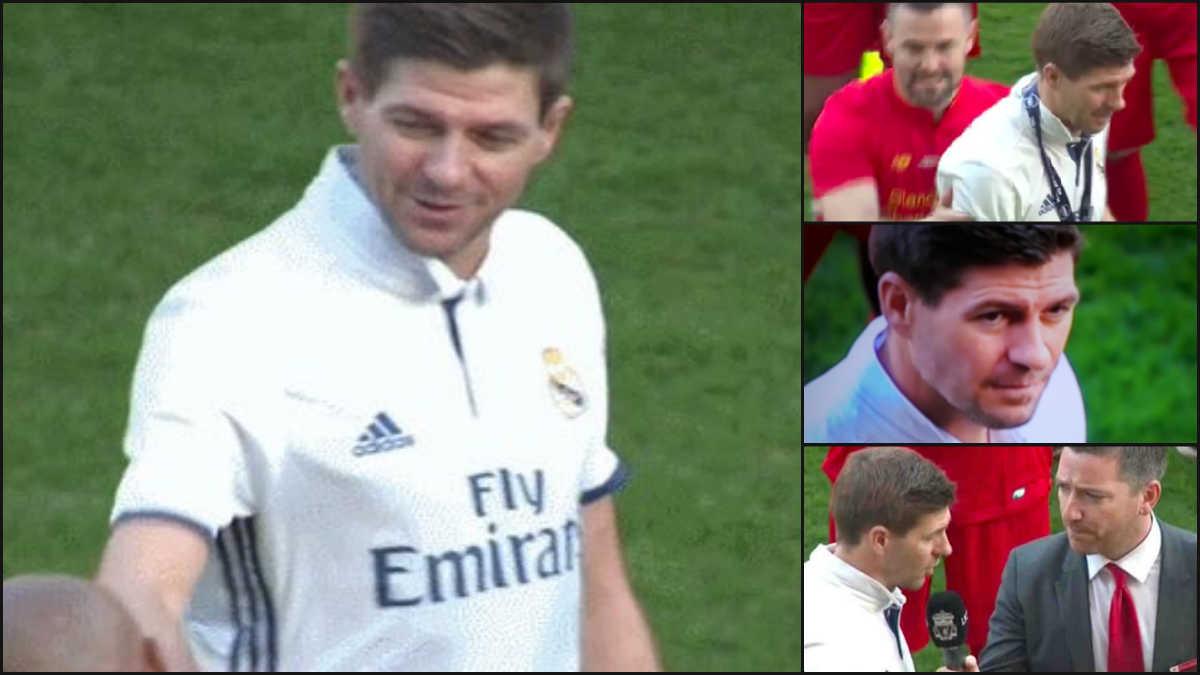 Gerrard se enfundó la camiseta del Real Madrid.