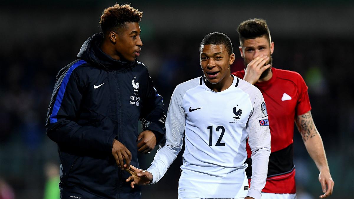 Mbappé, feliz tras debutar con Francia. (AFP)