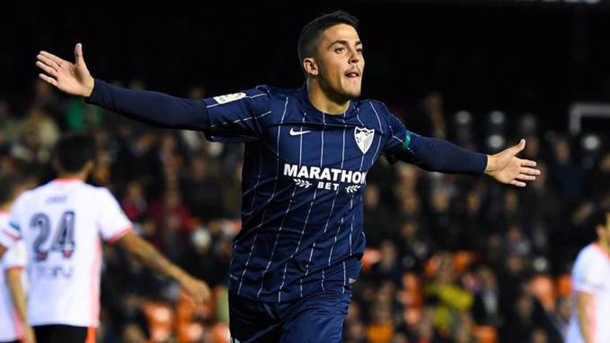 Pablo Fornals, celebrando un gol con el Málaga. (EFE)