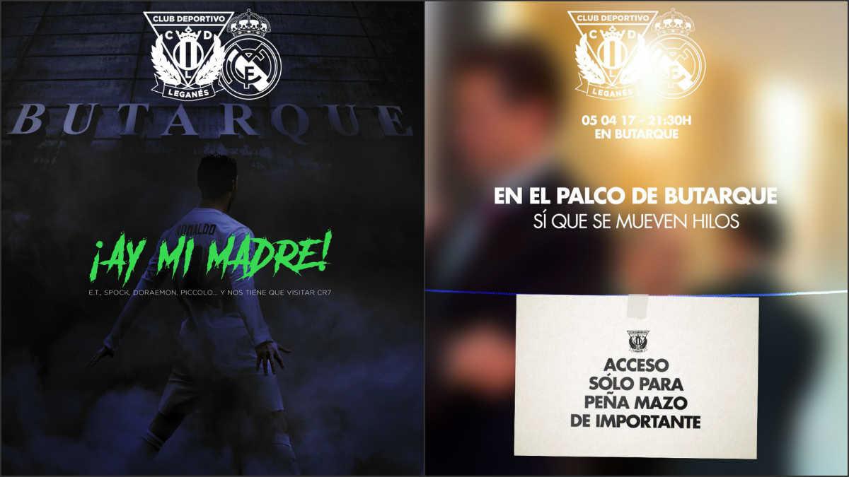 Los dos carteles online del Leganés para el partido contra el Madrid.
