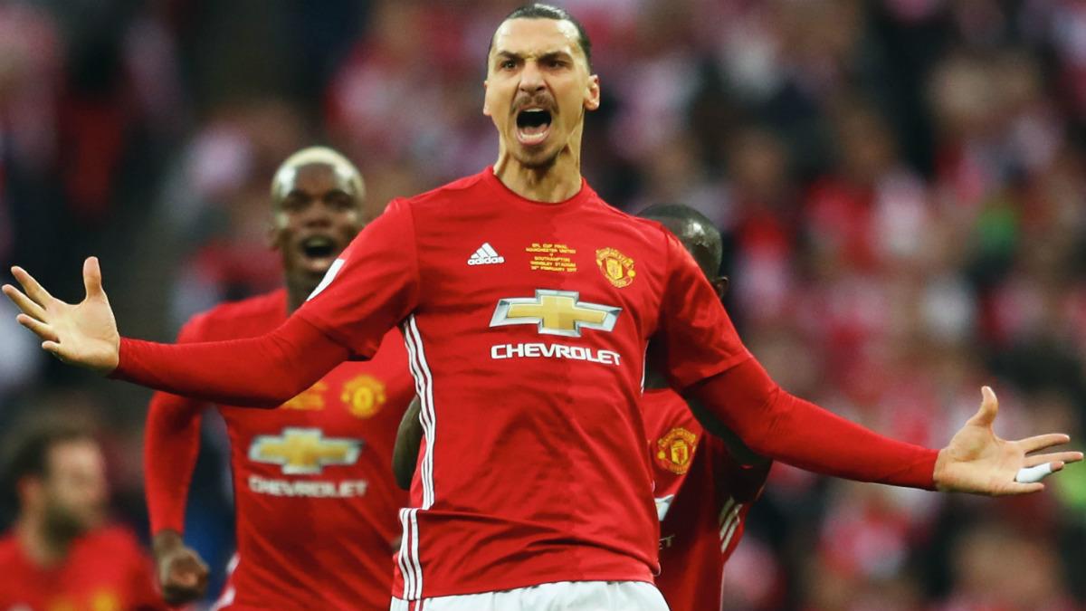 Ibrahimovic celebra un gol con el United. (Getty)