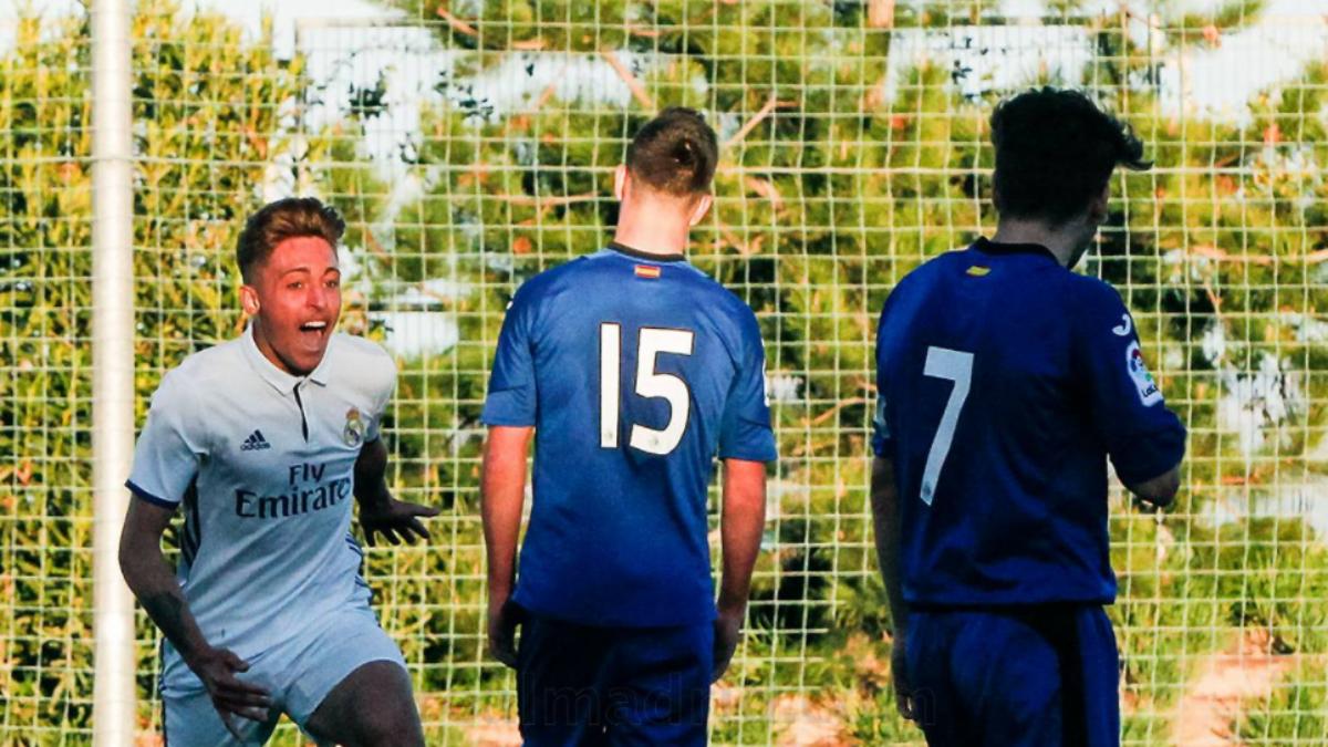Alejandro Sotillos celebra su gol ante el Getafe. (Realmadrid.com)