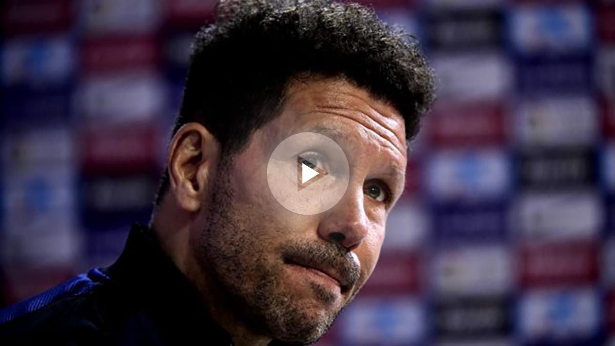 Simeone, en la rueda de prensa previa al derbi. (AFP)
