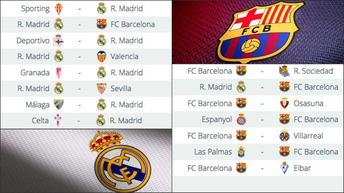 El calendario del Real Madrid y el Barcelona.