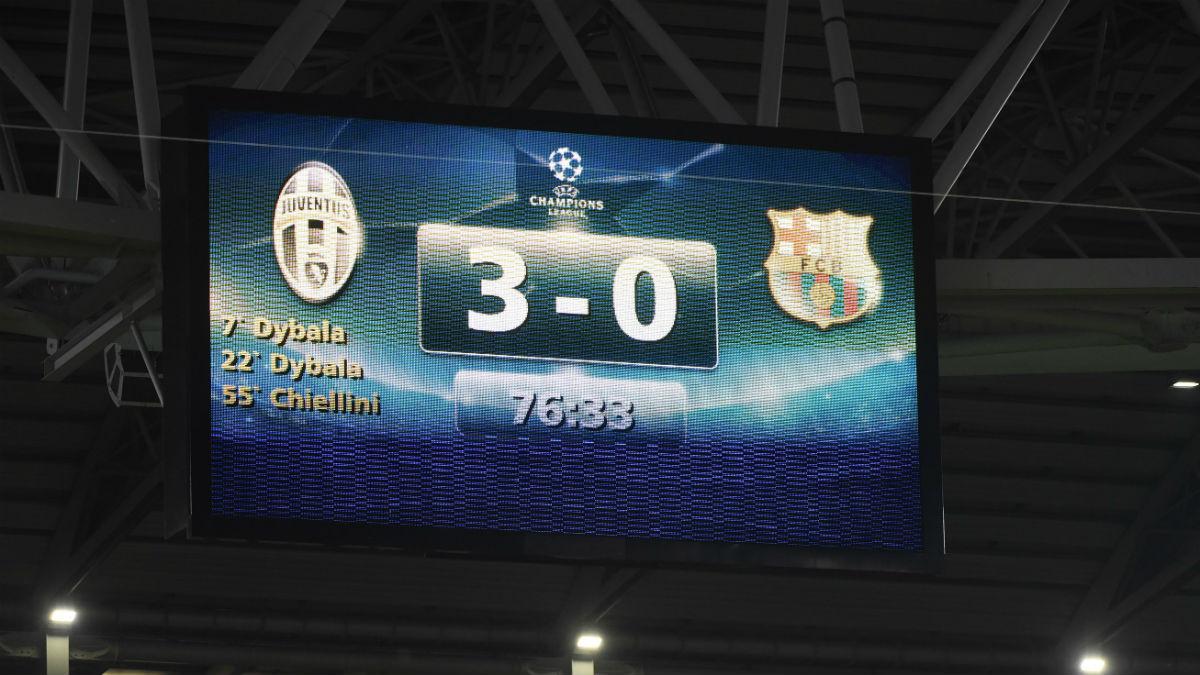 Marcador del Juventus-Barcelona. (Getty)