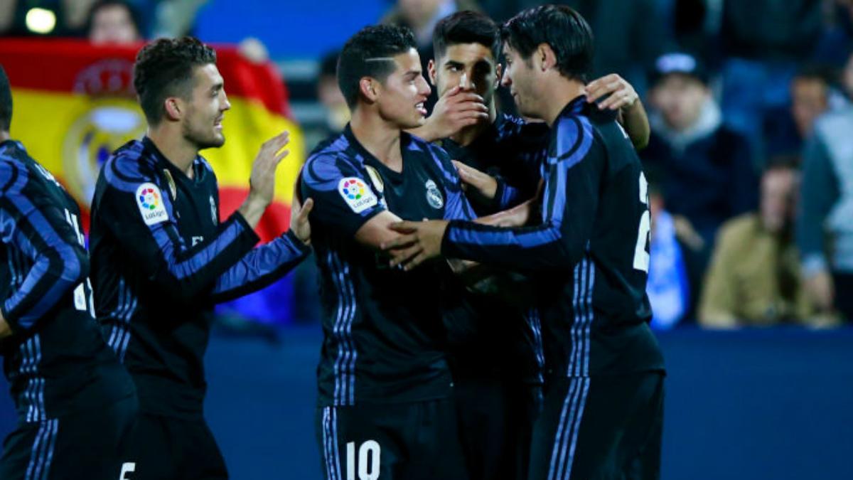 Kovacic, James, Asensio y Morata, miembros de la segunda unidad del Real Madrid. (Getty Images)