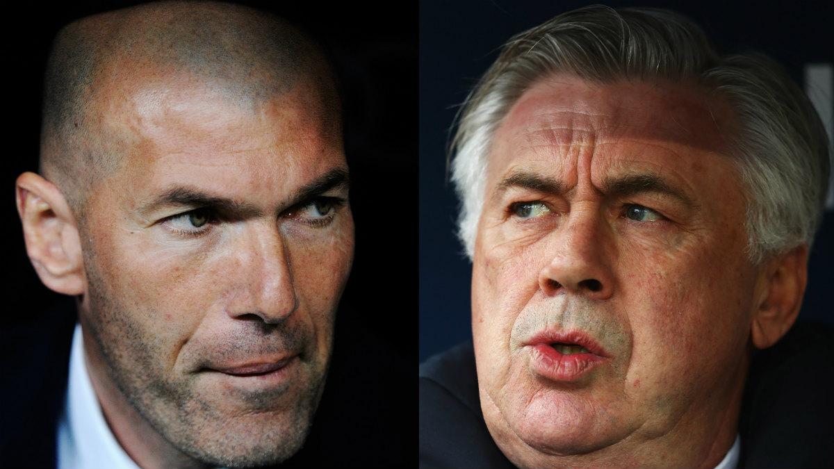 Zinedine Zidane y Carlo Ancelotti. (Getty)