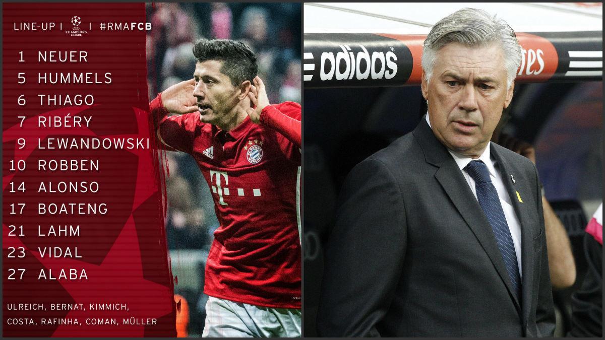 Ancelotti va con todo en la alineación oficial del Bayern.