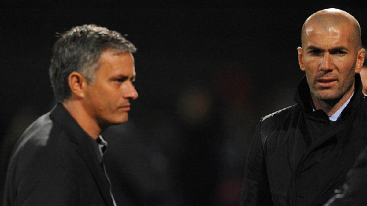 Mourinho y Zidane durante su etapa juntos en el Real Madrid. (Getty Images)