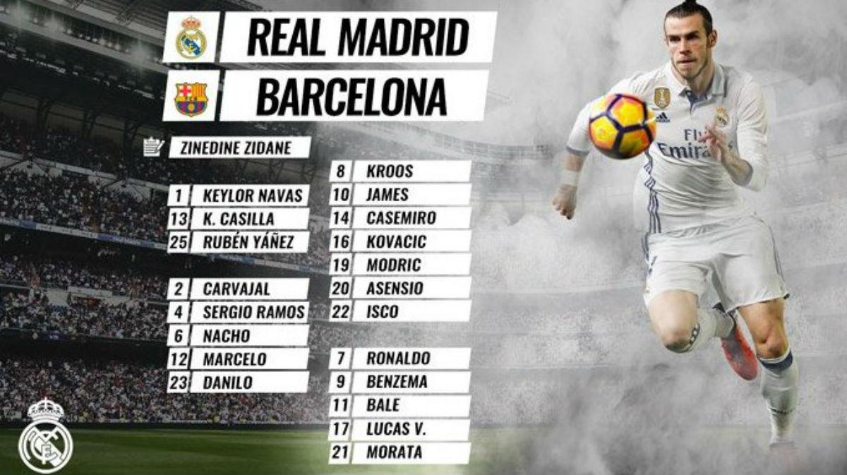 La convocatoria del Real Madrid para el Clásico.