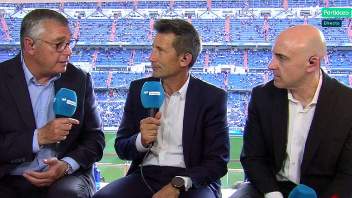 Robinson, Carlos Martínez y Maldini durante la retransmisión del Real Madrid-Barcelona.