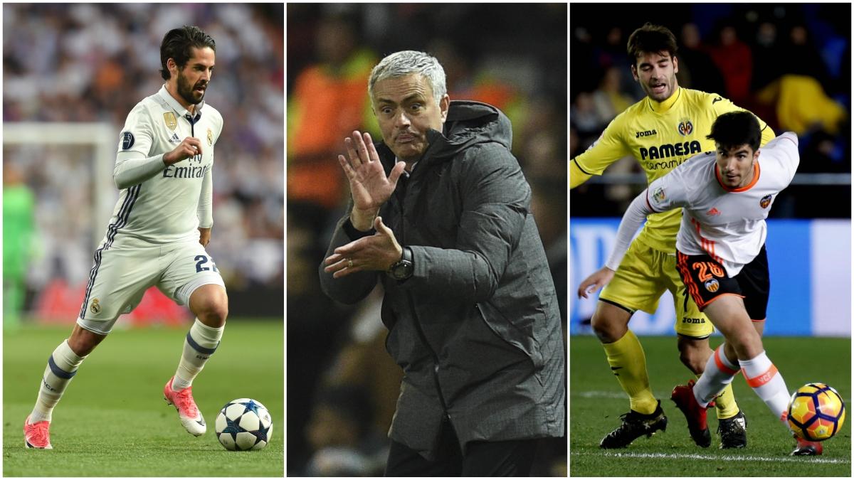 Isco, Mourinho y Carlos Soler.
