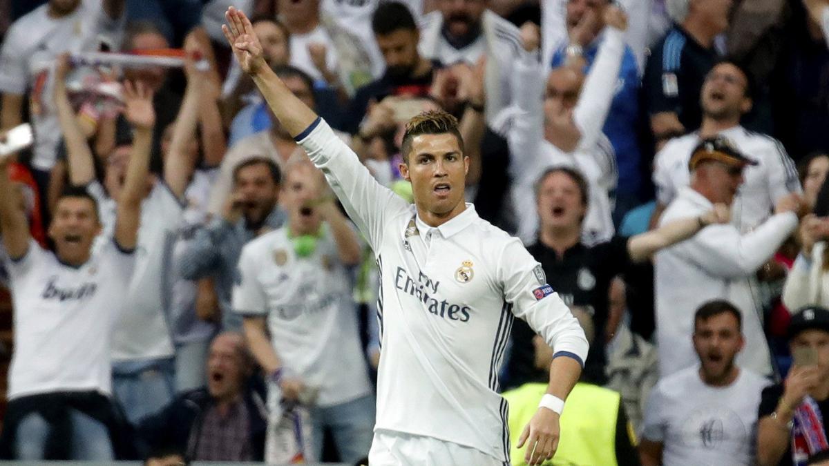 Cristiano Ronaldo celebra su gol ante el Atlético. (EFE)