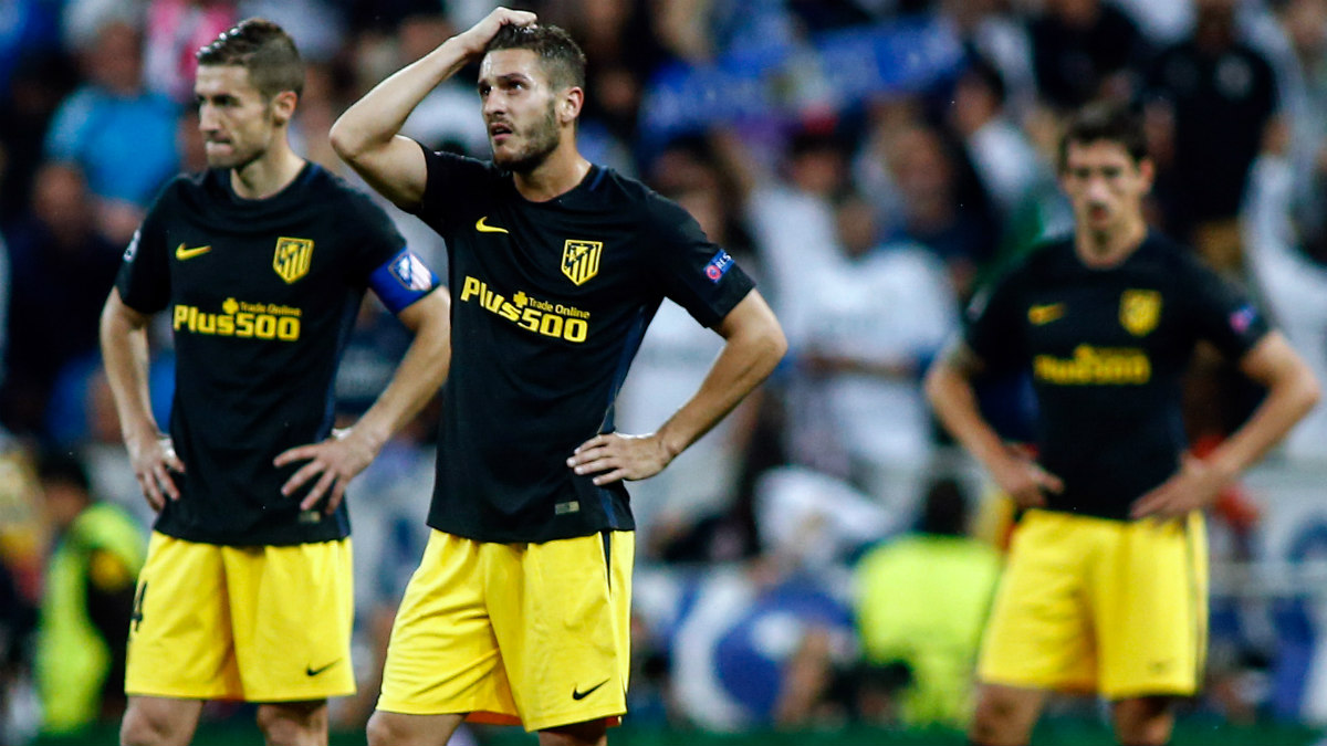 Koke se lamenta tras el 3-0. (AFP)