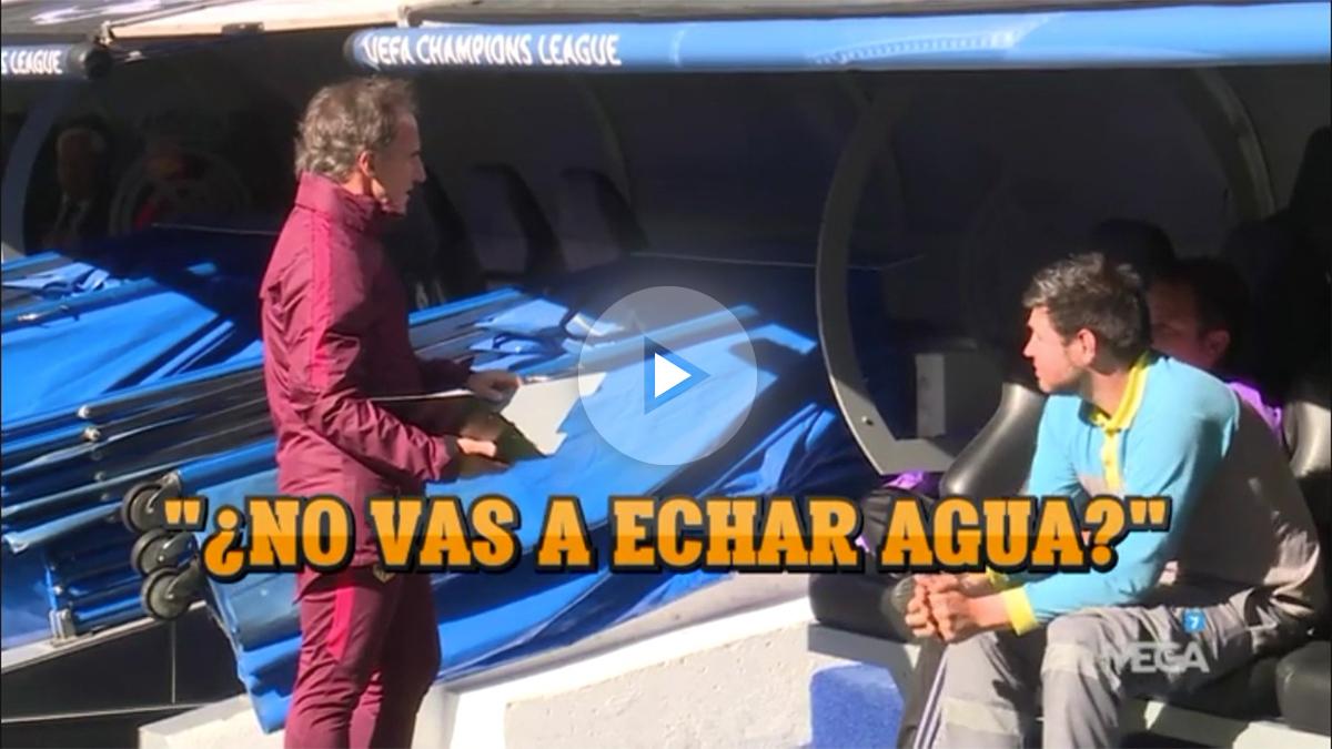 El profe Ortega maniobrando en el Bernabéu.