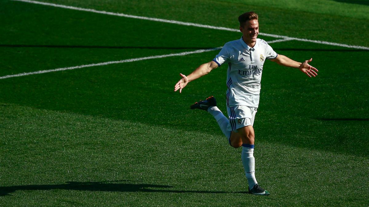 Dani Gómez celebra un gol con el Juvenil A del Real Madrid. (Getty)