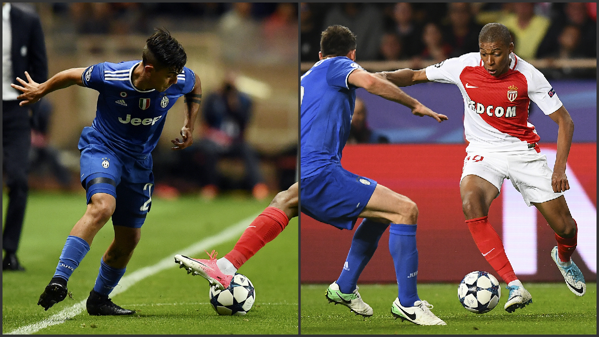 Dybala y Mbappé durante el Mónaco-Juventus. (Fotos AFP)