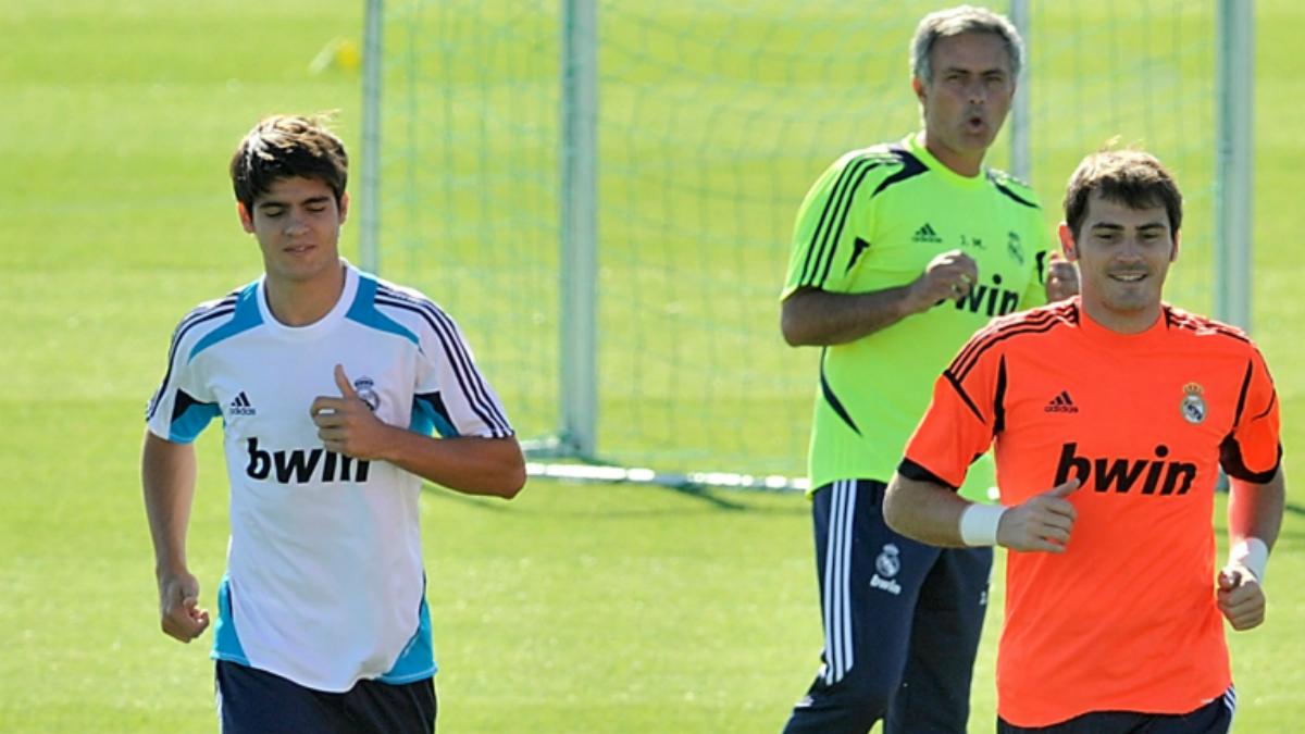 Mourinho en un entrenamiento del Real Madrid con Morata. (Getty Images)