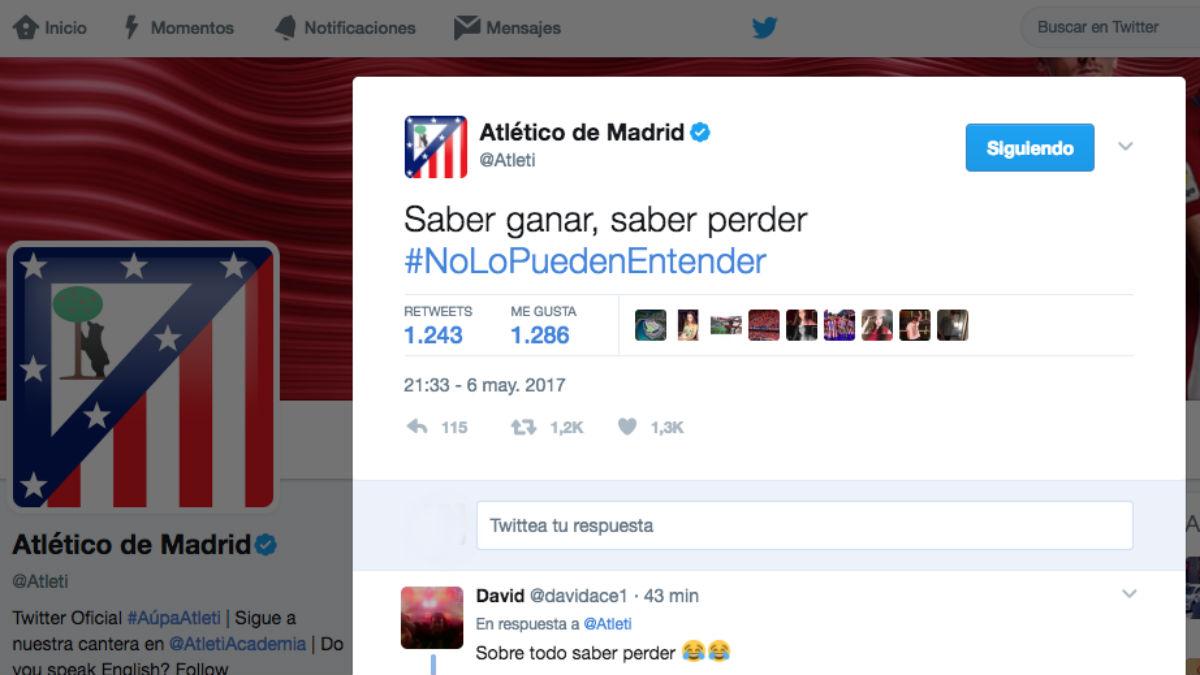 El Atlético calienta el derbi en Twitter provocando al Real Madrid