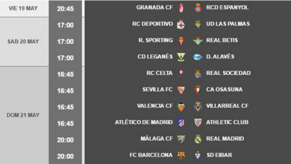 Horarios de la jornada 38 Liga.