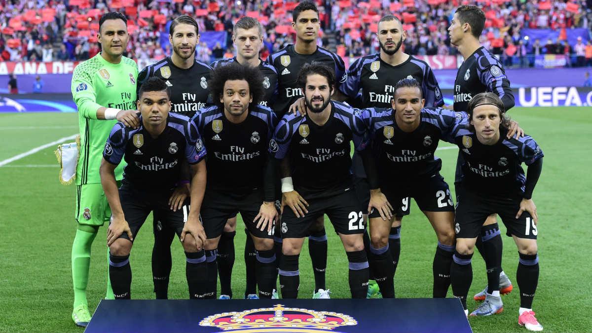 Los jugadores del Real Madrid en el Calderón. (AFP)