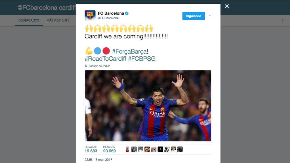 El tuit del Barça más retuiteado tras el pase del Madrid.