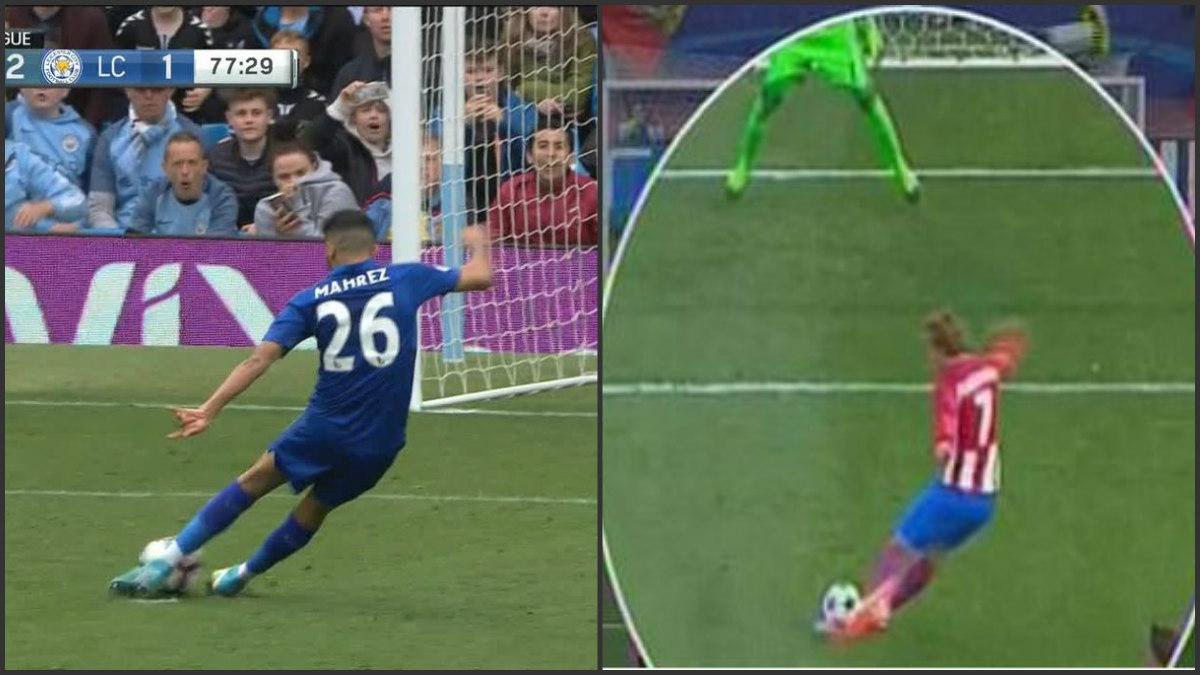 Mahrez y Griezmann lanzaron el mismo penalti.