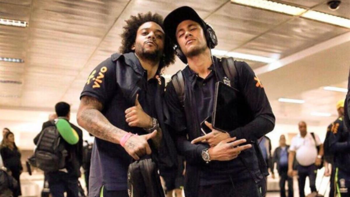 Neymar y Marcelo posan para la foto. (Instagram)