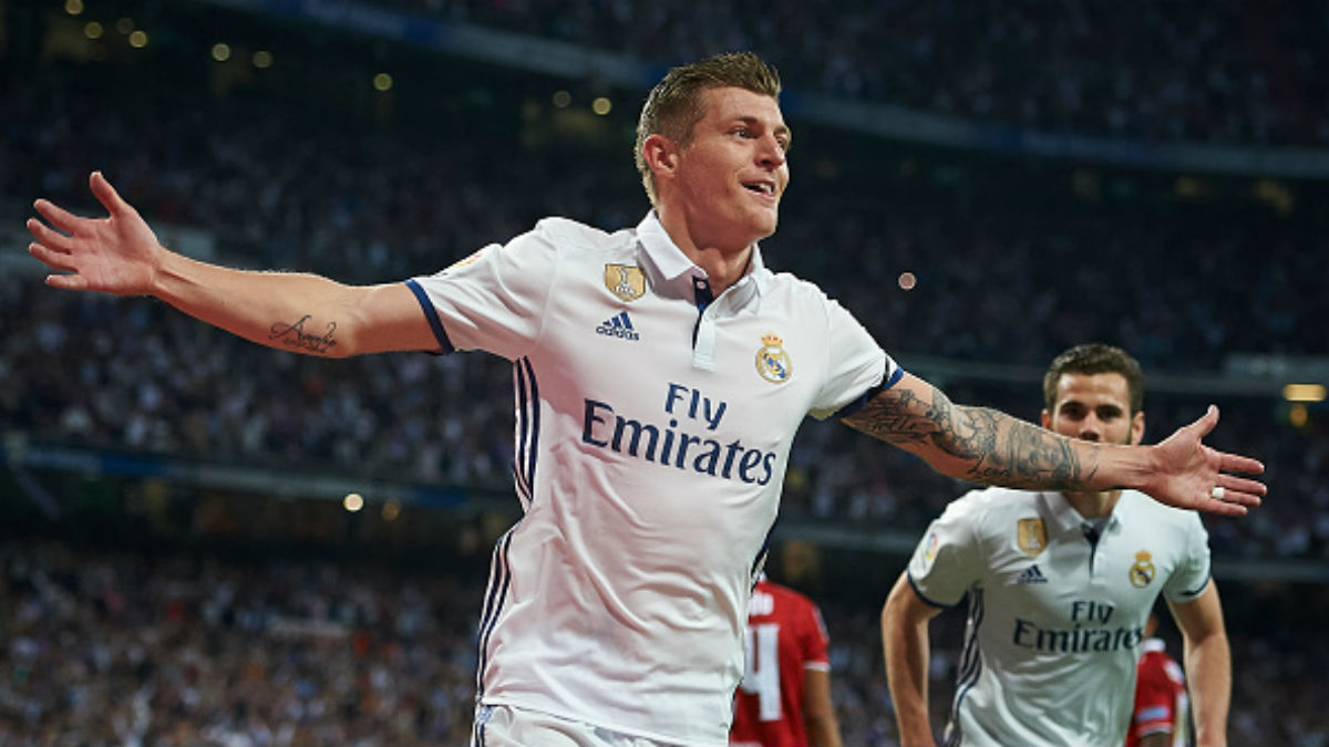 Kroos celebrando un gol con el Real Madrid. (Getty)