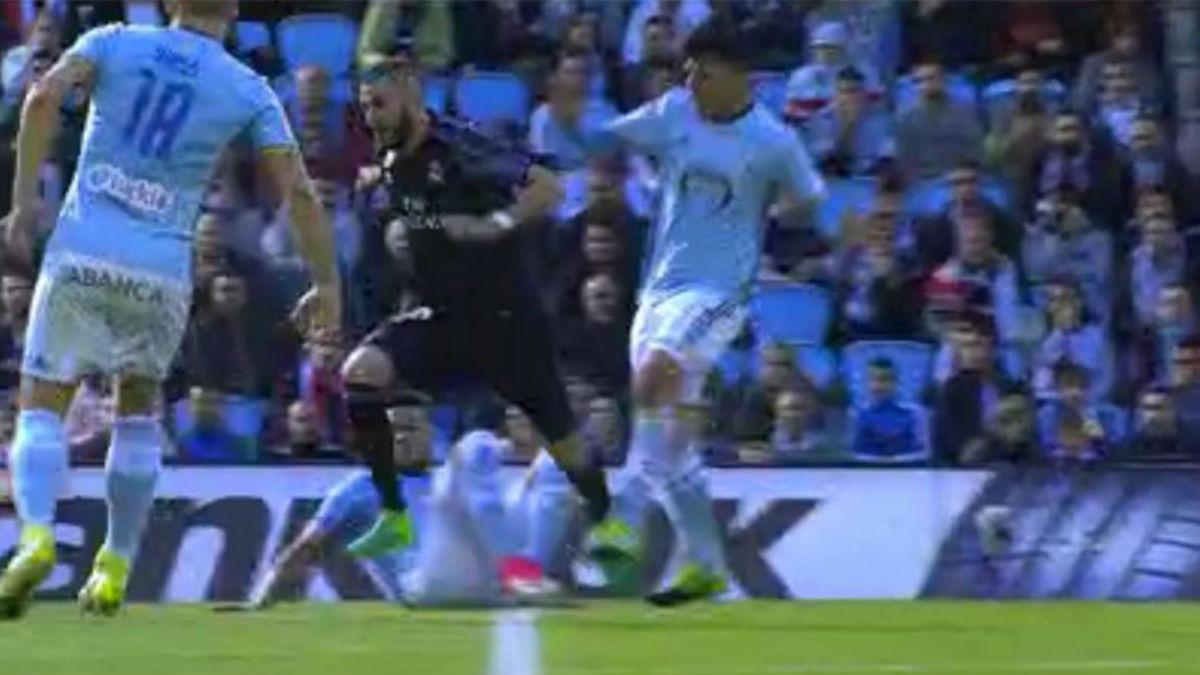 Benzema fue víctima de un penalti durante un Celta-Real Madrid clave en la Liga.