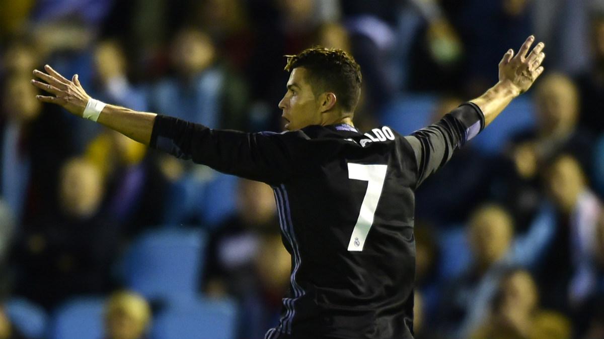 Cristiano celebra su segundo gol contra el Celta. (AFP)