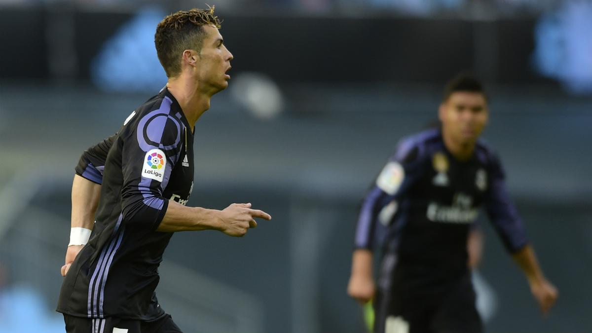 Cristiano celebra su primer tanto en Balaídos. (AFP)