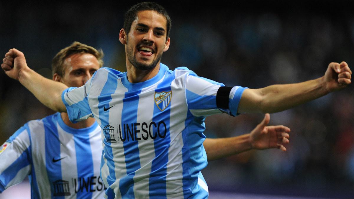Isco celebra un gol con el Málaga. (AFP)