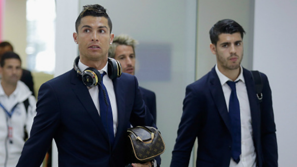 Cristiano, Morata y Coentrao en su llegada a Munich (Getty).