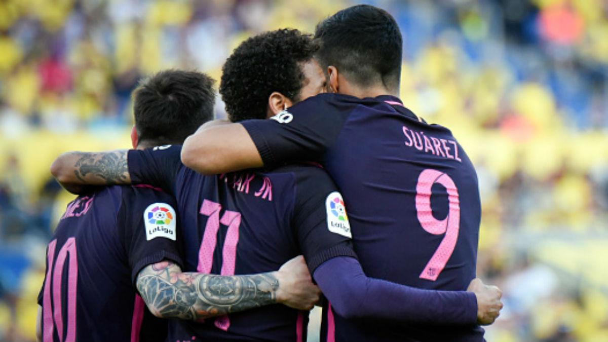 Messi, Neymar y Suárez celebran uno de los goles del Barça en Gran Canaria (Getty).
