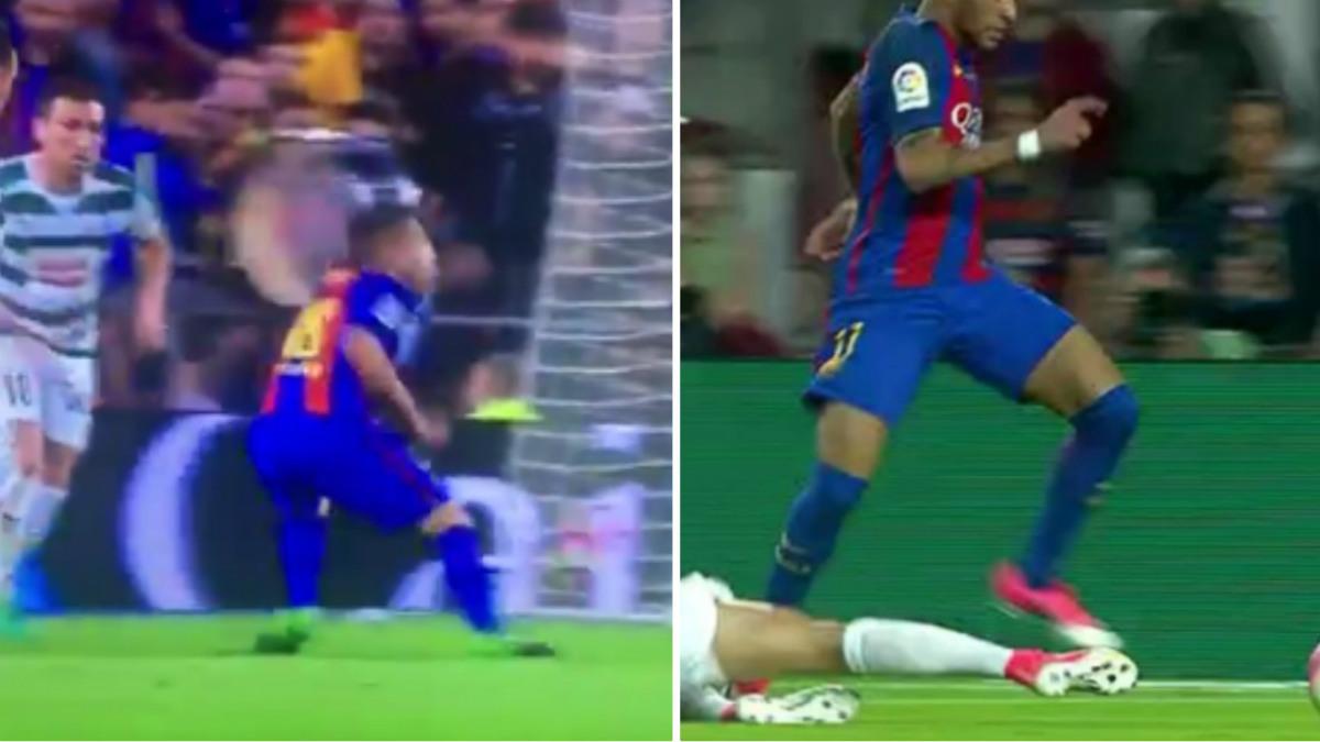 Dos penaltis inventados a favor del Barcelona.