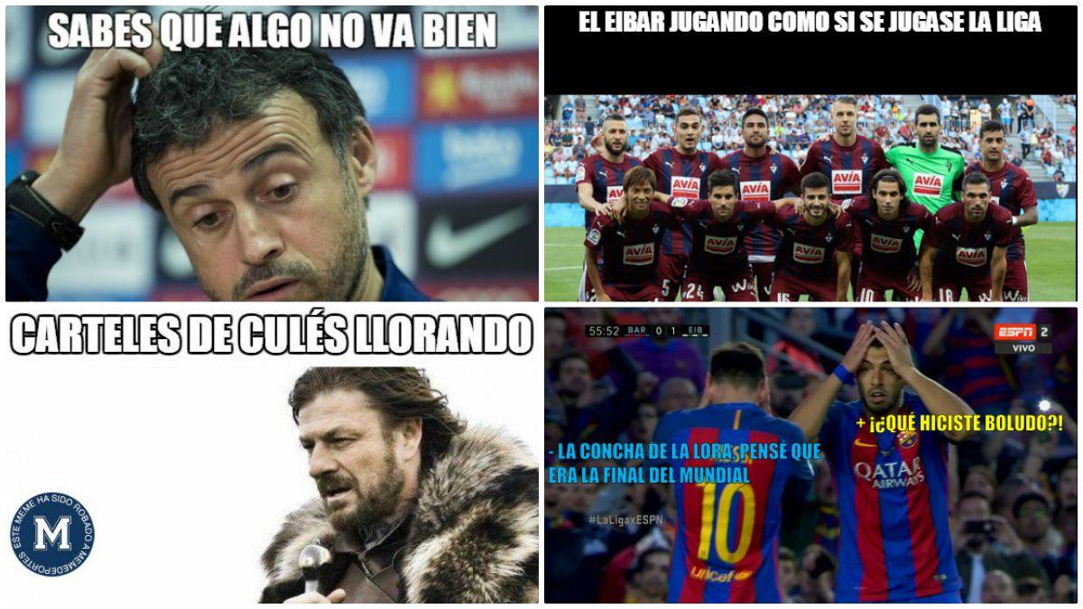 Los piscinazos y los lloros culés protagonizan los memes del Barcelona Vs Eibar