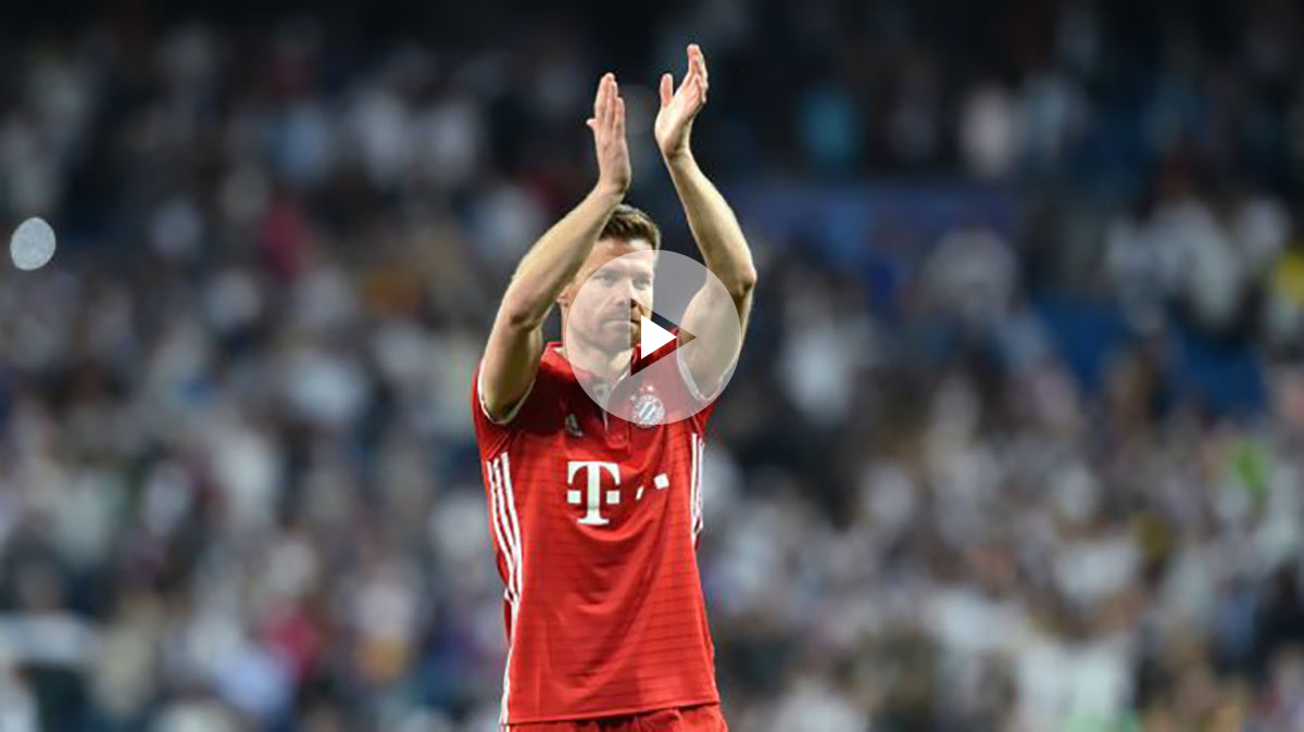 Xabi Alonso, el día de su despedida del Bernabéu. (AFP)