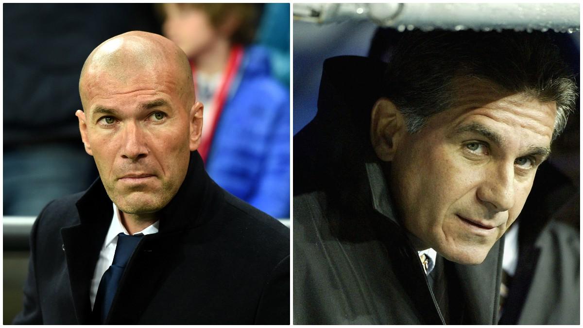 A la izquierda Zidane como entrenador del Real Madrid y a la derecha Carlos Queiroz.