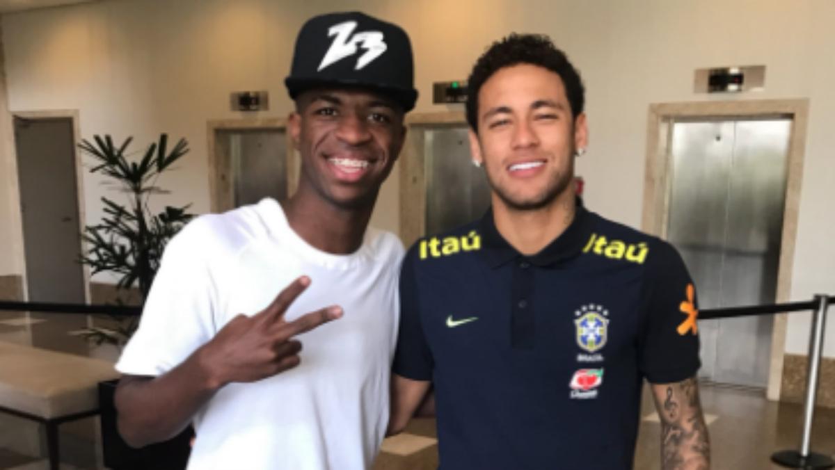 Neymar no pudo convencer a Vinicius. (Twitter)