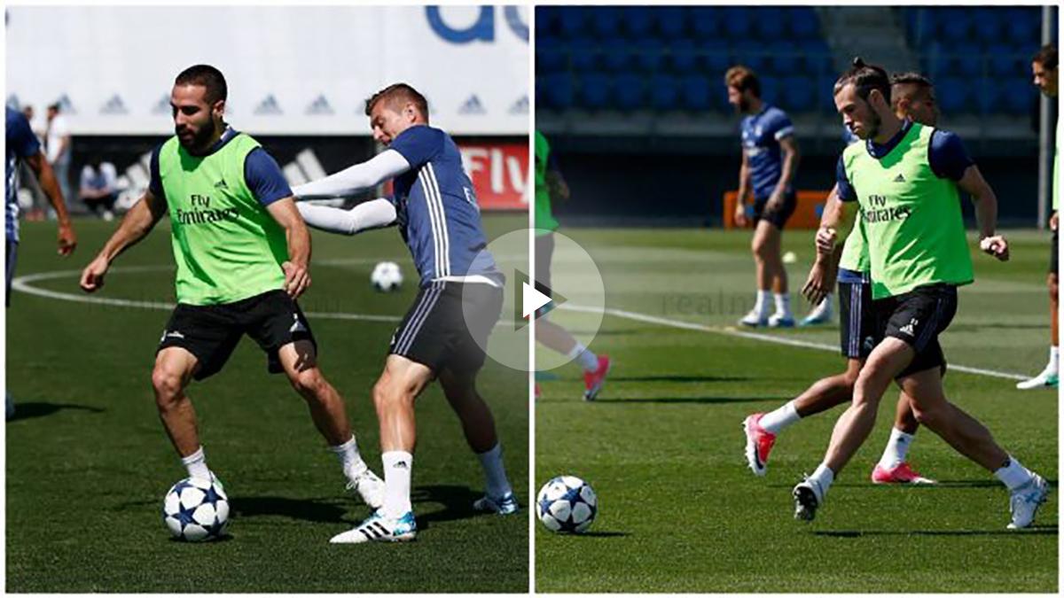 Bale y Carvajal se ejercitaron con el grupo toda la sesión. (realmadrid.com)