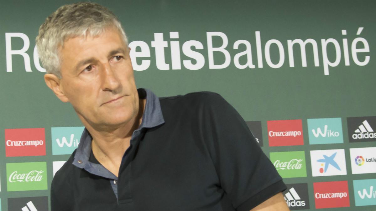 Quique Setién, en su presentación con el Betis. (EFE)