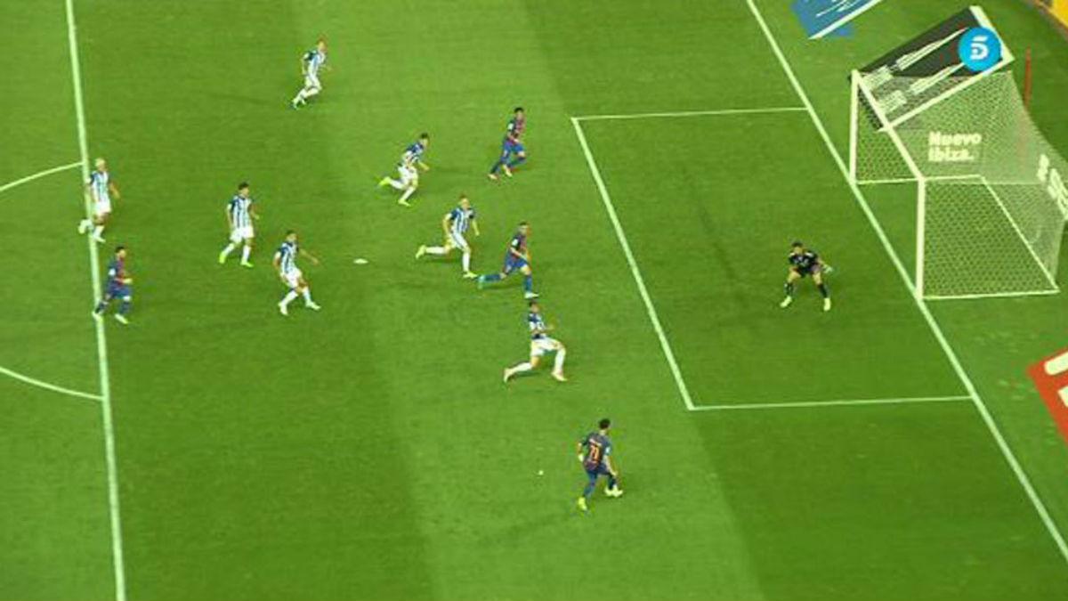 Neymar hace el segundo gol del Barcelona en posición de fuera de juego.