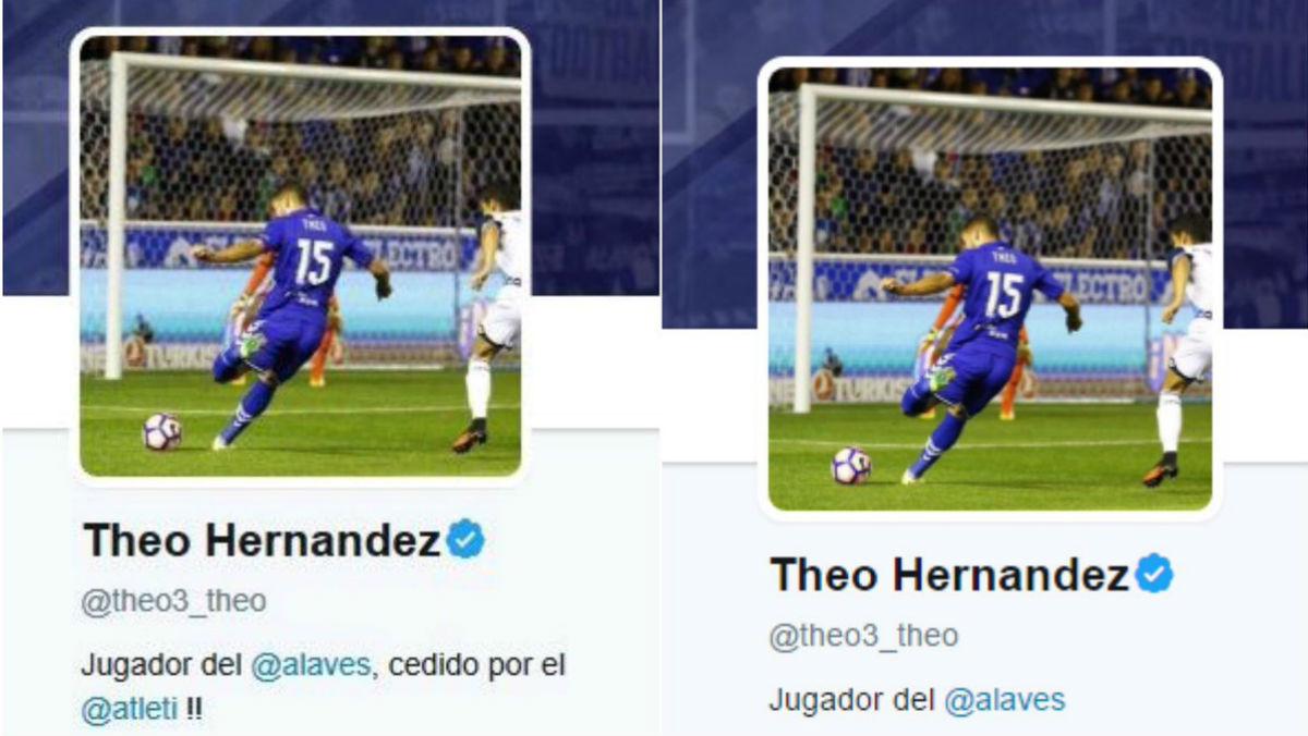 Theo Hernández cambia su biografía de Twitter.