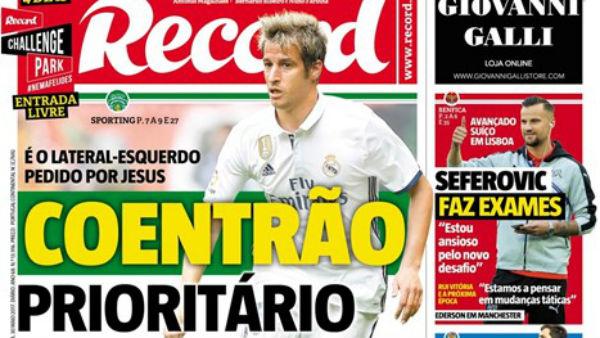 Coentrao es portada del diario 'Record'.