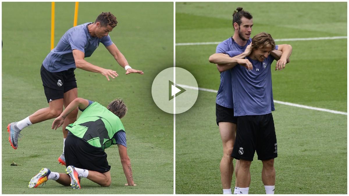 Los jugadores del Real Madrid disfrutan en el entrenamiento.