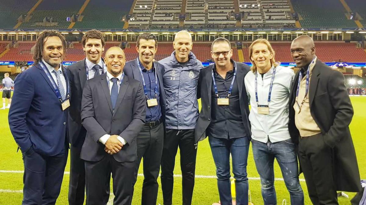 Las leyendas del Real Madrid Karembeu, Raúl, Roberto Carlos, Figo, Zidane, Mijatovic, Michel Salgado y Seedorf en Cardiff. (Twitter)