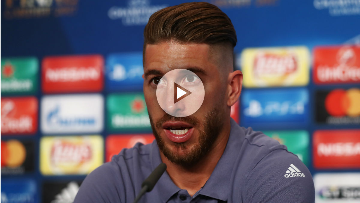 Sergio Ramos habla durante la rueda de prensa previa a la final de la Champions. (Getty)