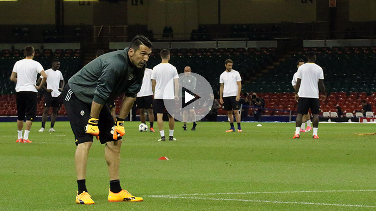 Gianluigi Buffon entrenando con la Juventus antes de la final. (Enrique Falcón)