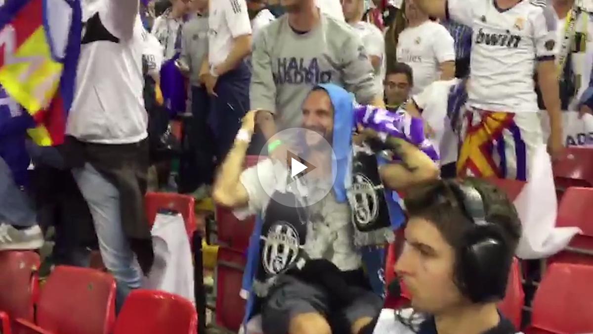 El doble de Bradley Cooper, infiltrado entre la afición del Real Madrid.